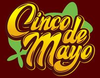 Vector template with calligraphic lettering for celebration Cinco de Mayo.  royalty free illustration