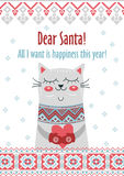 Vector template card Merry Christmas in traditional style with cute cat  gift. New Years winter background  holiday Royalty Free Stock Photos