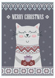 Vector template card Merry Christmas in traditional style with cute cat  gift. New Years winter background  holiday Stock Photos