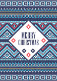 Vector template card Merry Christmas in traditional style. New Years background with pixel ornament. Stock Photos
