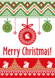 Vector template card Merry Christmas in traditional style. New Years winter background with holiday balls and rabbits. Pixel ornament Stock Image
