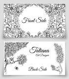 Vector template cards with doodles nature theme. Royalty Free Stock Photos