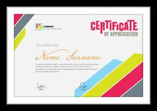 Vector template for certificate,clean colorful diploma Royalty Free Stock Photos
