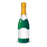 Champagne Bottle with Blank Label for Your Text Royalty Free Stock Photo