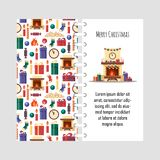 Vector template christmas card with festive elements. Gifts, clock, candle, fireplace, socks, wood, candy. Colorful Royalty Free Stock Photography