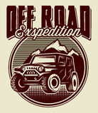 Vector template for the club logo, with the SUV against the backdrop of mountains Stock Photos