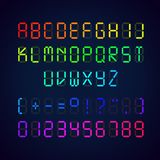 Vector template of colorful digital glowing font. Illustration of letters and numerals with punctuation marks royalty free illustration