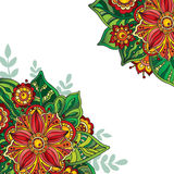 Vector template with colorful flowers and leaves for greeting ca Royalty Free Stock Photos