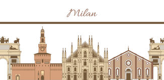 Vector template with composition of famous landmarks of Milan. Vector hand-drawn colored template with composition of famous landmarks of Milan Royalty Free Stock Photos