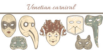 Vector template with composition of Venetian masks. Vector hand-drawn colored template with composition of Venetian masks Stock Photos