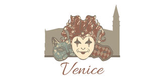 Vector template composition of Venice symbols Stock Photography
