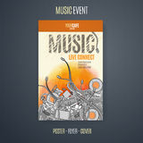 Vector template for a concert poster or a flyer featuring an music event. Stock Photo
