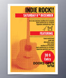 Vector template for a concert poster  and  music party flyer. Indie musician concert show poster with acoustic guitar  vector illustration Stock Images
