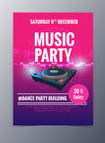 Vector template for a concert poster  and  music party flyer Stock Photos