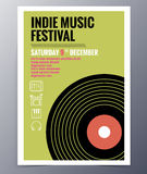 Vector template for a concert poster  and  music party flyer. Indie musician concert show poster with gramophone record vector illustration Royalty Free Stock Photography
