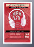Vector template for a concert poster  and  music party flyer. Indie musician concert show poster with headphone vector illustration Stock Photography