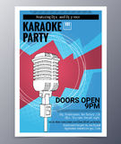 Vector template for a concert poster  and  music party flyer. Indie musician concert show poster with microphone vector illustration Stock Image