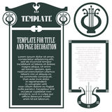 Vector template concert program, envelope and other invitations or greeting cards. Vector template for the design of concert program, advertisements, envelope Stock Photo