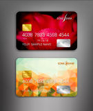 Vector template credit cards with flower themes Stock Photos
