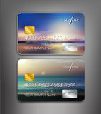 Vector template credit cards with seascape Stock Photos
