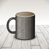 Vector template cup design with textures made of hand drown line on a gray background. Royalty Free Stock Photography