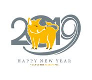 Vector template with a cute yellow pig on the background of 2019. royalty free illustration