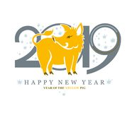 Vector template with a cute yellow pig on the background of 2019. stock illustration