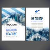 Vector template design annual report 2016-2017. Vector template design annual report 2016, layout with colorful cityscape, space for logo and text.Design for Stock Images