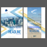 Vector template design annual report 2017. Layout with colorful cityscape, space for logo and text. Vector mesh technology with blurred concept. Isolate on stock illustration