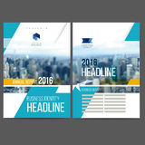 Vector template design annual report 2016. Layout with colorful cityscape, space for logo and text. Vector mesh technology with  blurred concept. Isolate on Royalty Free Stock Photos
