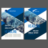 Vector template design annual report 2017. Layout with colorful cityscape, space for logo and text. Vector mesh technology with blurred concept. Isolate on royalty free illustration
