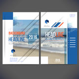 Vector template design annual report 2016-2017. Vector template design annual report 2016, layout with colorful ocean picture, space for logo and text. Isolate stock illustration