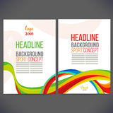 Vector template design Brochure. Flyer,Layout template,Web sites, page, leaflet with colored lines and waves Stock Photography