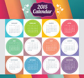 Vector template design - Calendar 2015 with paper page for months Royalty Free Stock Photos