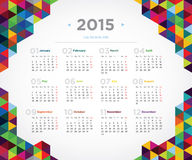 Vector template design calendar 2015. Year Royalty Free Stock Image