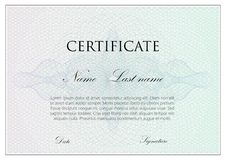 Vector template design of certificate with guilloche signs Stock Image
