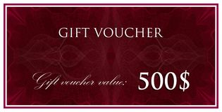 Vector template design of gift voucher or certificate with guilloche pattern, watermarks. Royalty Free Stock Images