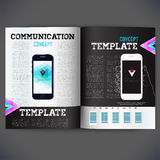 Vector template design with a mobile phone Royalty Free Stock Photo