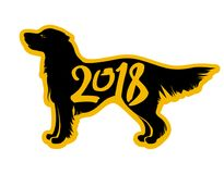 Vector laconic template dog 2018. Vector template dog 2018. Flat laconic sticker with silhouette of retriever Royalty Free Stock Photography