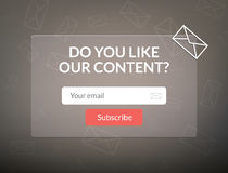 Vector template email subscribe. Submit form for website letter banner. Royalty Free Stock Images