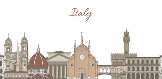 Vector template with famous landmarks of Italy Stock Photo