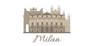Vector template with famous landmarks of Milan. Vector hand-drawn colored template with famous landmarks of Milan Royalty Free Stock Photo