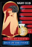 Vector template flyer advertising a nightclub, shows, parties Royalty Free Stock Images