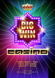 Vector template of flyer for casino event with neon colors on background Royalty Free Stock Images