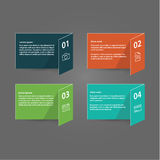 Vector template - four colorfully folded cards with place for yo Royalty Free Stock Photos