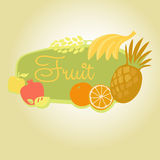 Vector template frame with fruit. Sign. Signboard Stock Images