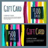 Vector template for gift card with abstract watercolor stripes Royalty Free Stock Images