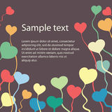 Vector template of gift card with hearts Stock Photo