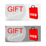 Vector template gift voucher 500 dollars Stock Photos