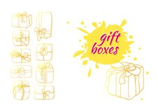 Template of golden gift boxes in cartoon style. Doodle vector. Vector template of golden gift boxes in cartoon style. Doodle box icon with ribbon. Gift wrap Royalty Free Stock Photo